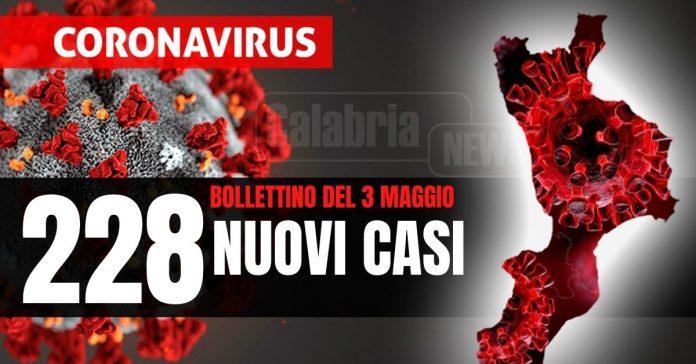 Bollettino Covid Calabria 3 maggio